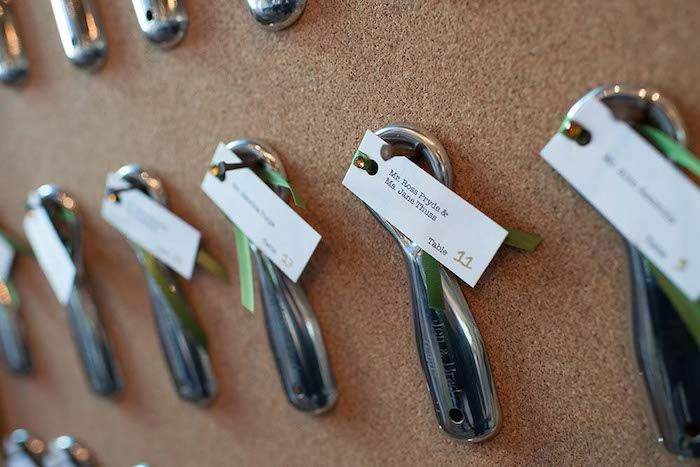 Metal bottle openers for escort cards and kept by guests as favors - ideal for a brewery wedding. Source: Wedding Bells #brewerywedding #favors #escortcards