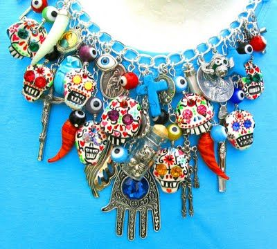 "Hand Carved ""Sugar Skull"" Day of The Dead Art Jewellery by Leandra Holder"
