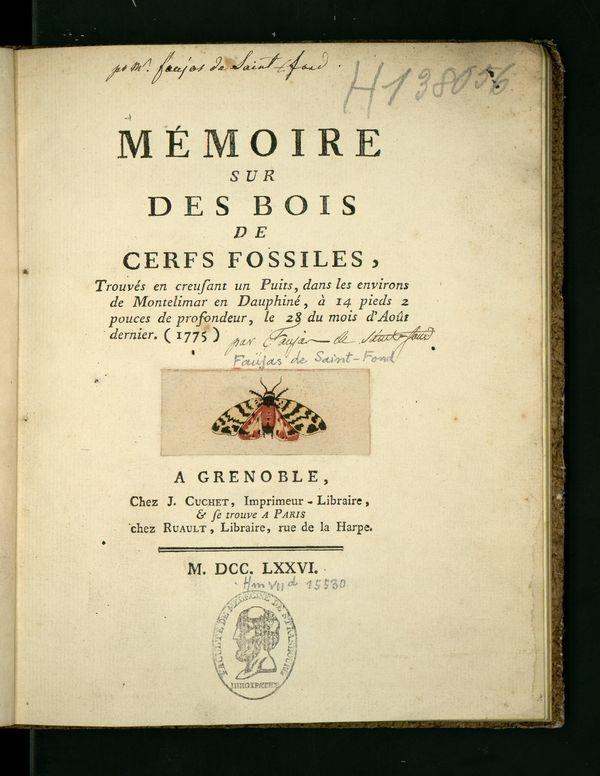 Memoire sur des bois de cerfs fossiles, Grenoble, 1775