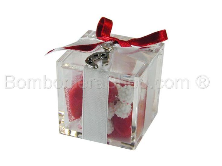 Cubo contenitore in plexiglass con ciondolo ferro di cavallo