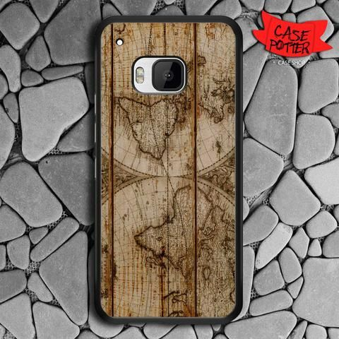 Old World Map Wood HTC One M9 Black Case