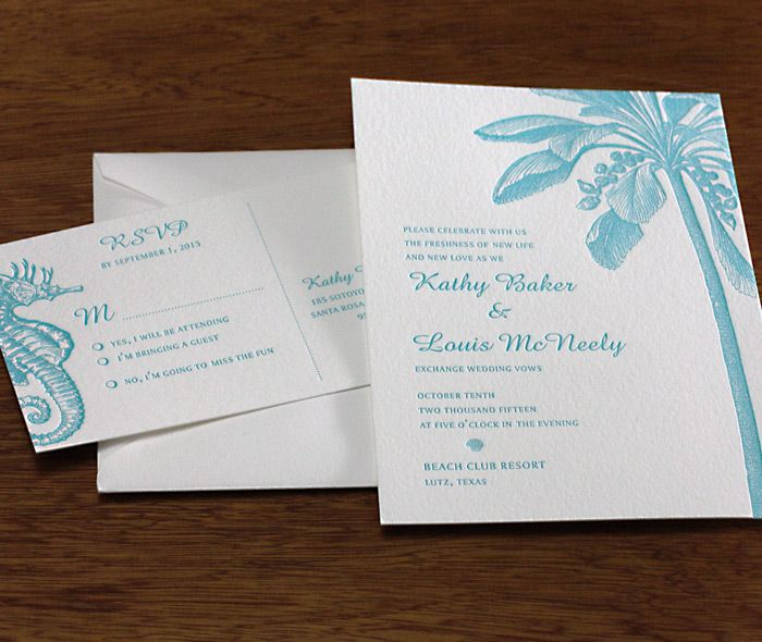 Tropical Sea Horse And Palm Tree Wedding Invitation Set In Aquamarine Ink For A Summer Beach