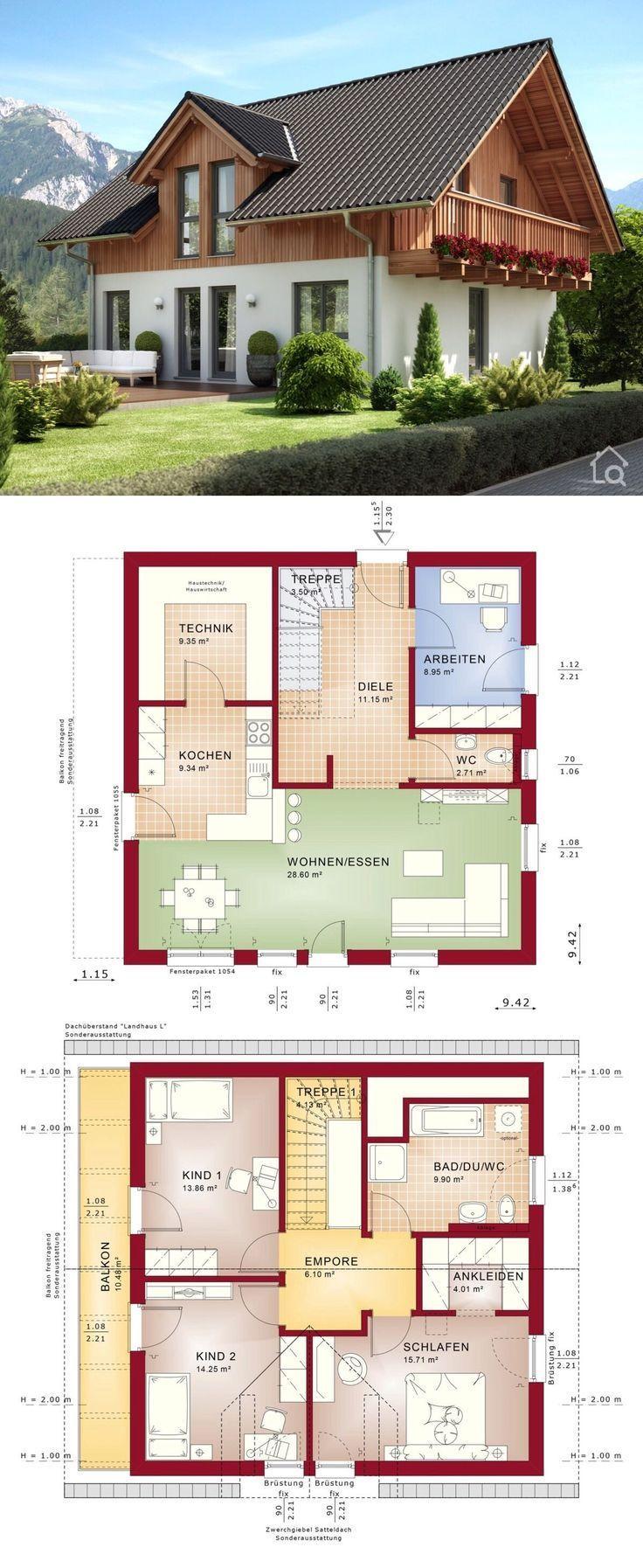 Modernes Landhaus im Alpenstil, Einfamilienhaus Neubau mit Holz Putz Fassade & Satteldach Architektur, Grundriss offen mit Balkon – Haus bauen Ideen … – Regina Peláez