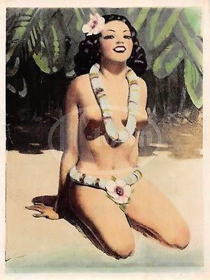 HAWAIIAN ISLAND GIRL VINTAGE WWII GRAPHIC ART RISQUE PIN-UP CARTOON PHOTOGRAPH