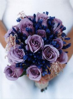 deep purples    This bouquet gets its velvety hue from lavender roses, astillbe, and agapnathus.