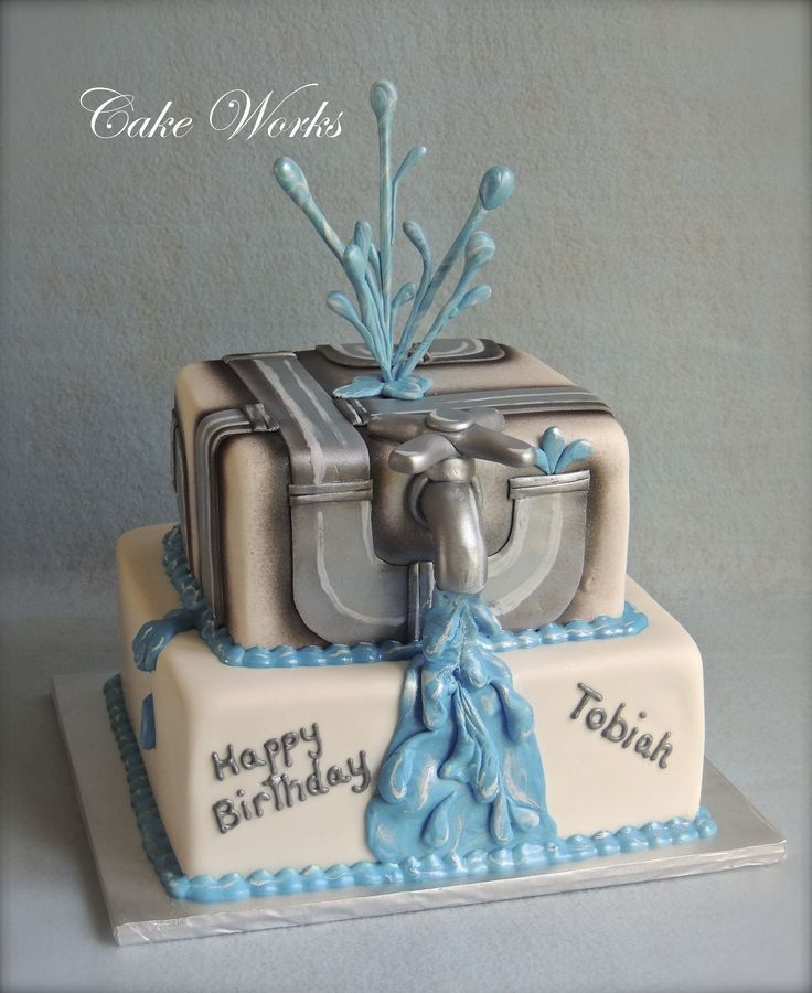 Water Works Birthday Cake  Water  plumbing themed birthday cake.
