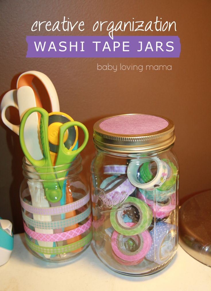 Get Organized! #DIY Washi Tape Storage Jars from @Emilie -Baby Loving Mama | Supplies available at Joann.com | #craftmonthlove