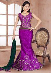 Purple Art Silk Lehenga Choli with Dupatta
