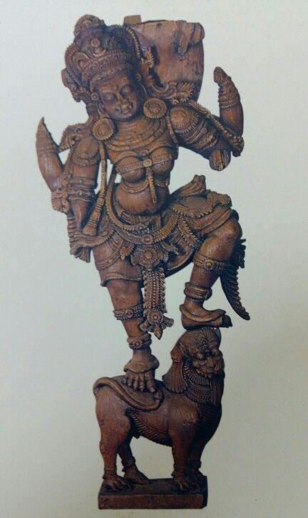 """Goddess Durga. "" Wooden sculpture. Chera Dynasty. 15th Century AD. Thiruvananthapuram Museum, Kerala, India."