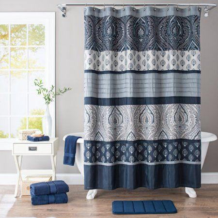 Buy Better Homes And Gardens Indigo Paisley Pieced Fabric Shower Curtain At Walmart