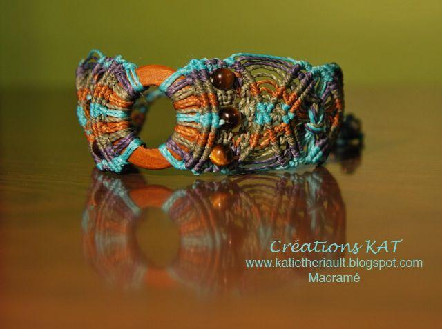 Bracelet macramé, bois, semi-précieuse, www.katietheriault.blogspot.com