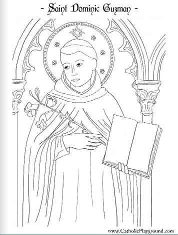 Free Catholic coloring page of Saint Dominic Guzman, patron of astronomers.  Feast day is August 8th.
