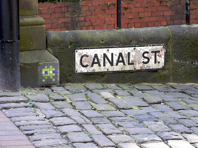 Canal Street in Manchester, England is home to a diverse gay district.  When I was last there the C had been rubbed off by some wise ass.