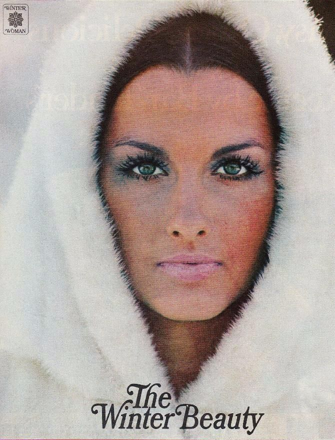 From Ladies' Home Journal, November 1969, model/actress Veronica Hamel