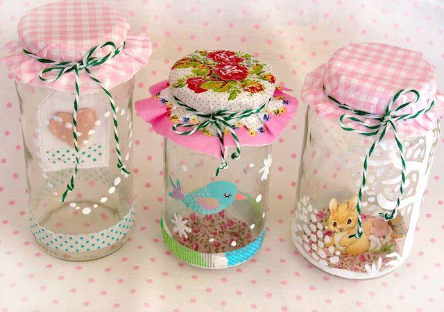 Decorar tarros de cristal de esos que siempre guardamos - Como decorar botes de cristal para chuches ...