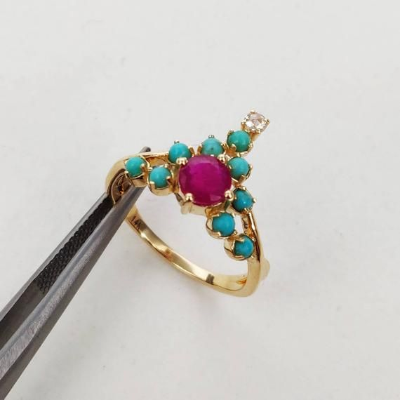 Details about  /10K solid gold ring rainbow moonstone ring,ruby ring,mixed stone Unique ring