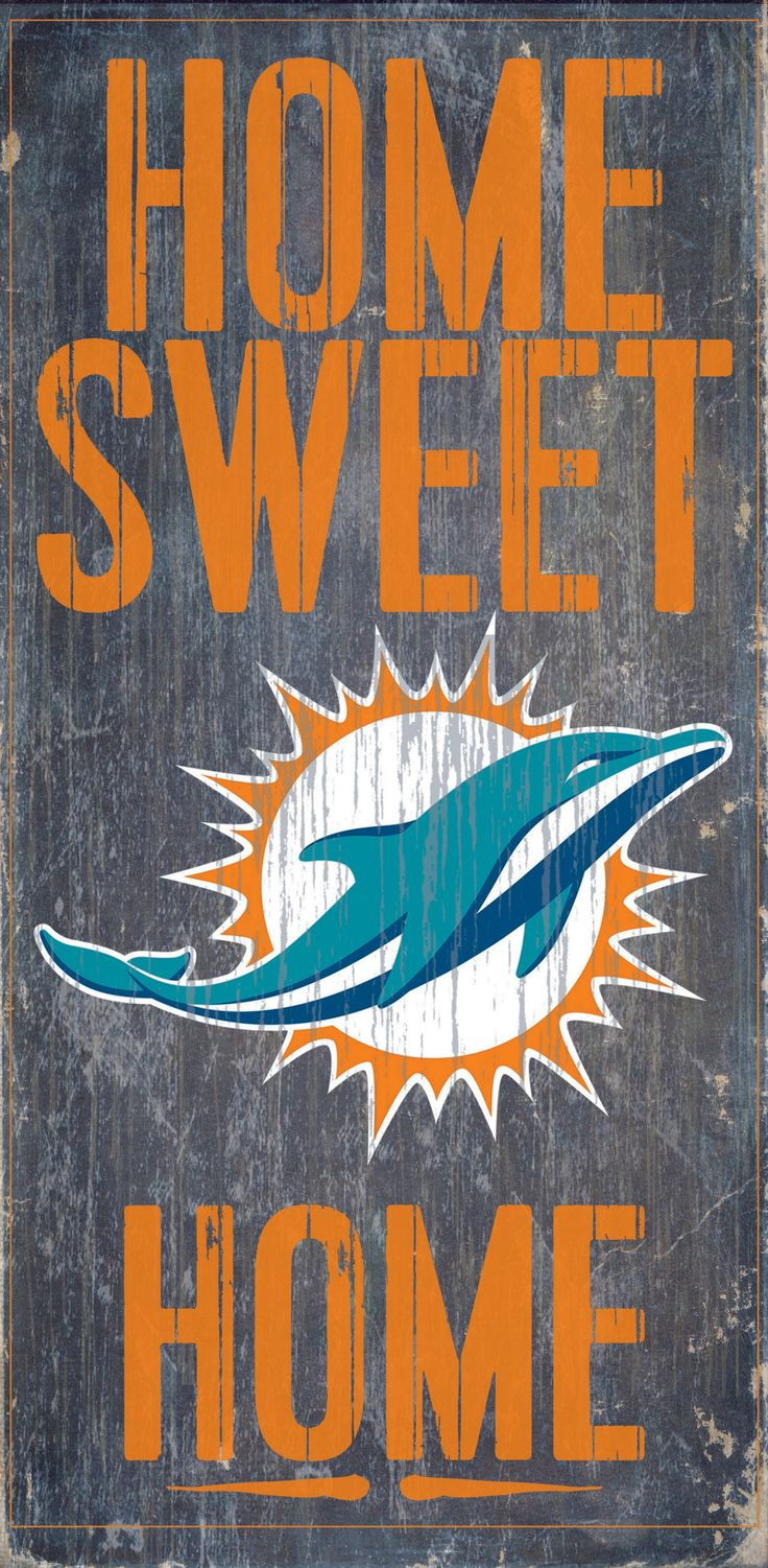 "Welcome NFL fans enjoy your Miami Dolphins Officially Licensed team tailgationg gear. Miami Dolphins Wood Sign - Home Sweet Home 6""x12"""