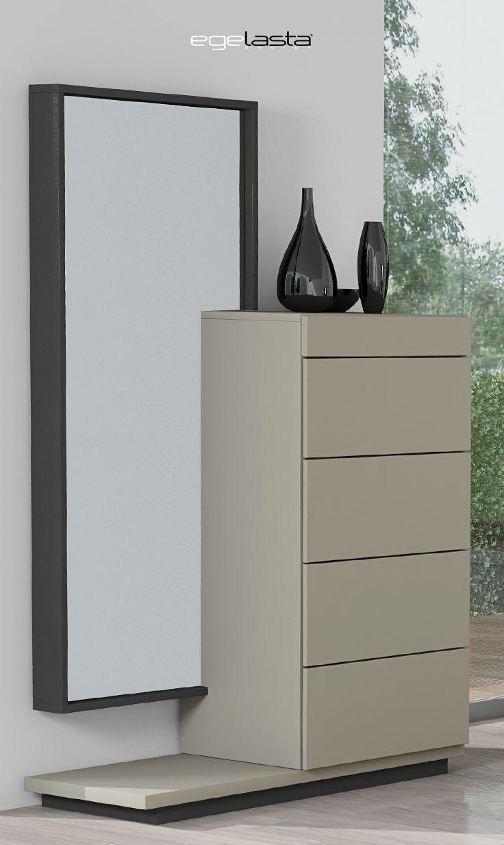 Egelasta · Mueble · Moderno · Madera · Mobiliario de hogar · Catálogo New Live · Noche · Dormitorio · Conjunto de chifonier con espejo y tarima · Laca visón