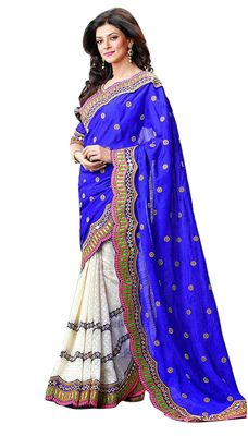 Majestic Embroidered Faux Georgette Saree Sarees on Shimply.com