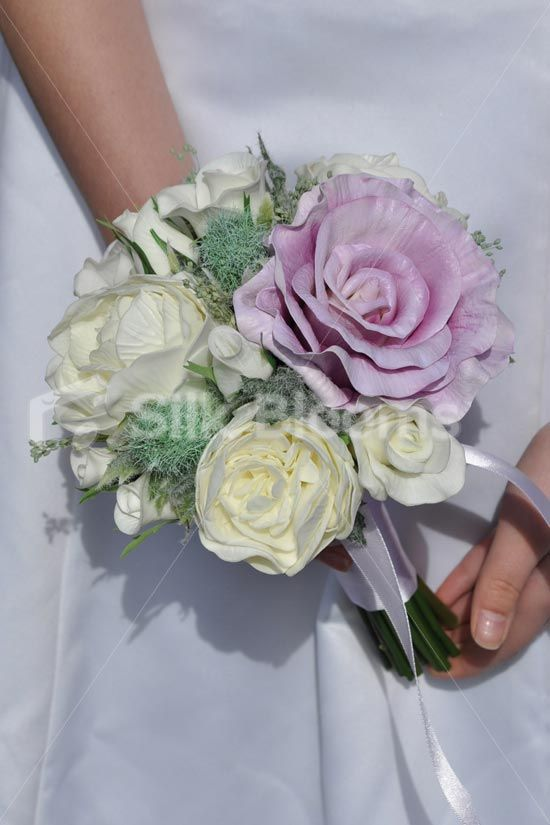 Fairytale Ivory and Lilac Fresh Touch Rose and Peony Bridesmaid Bouquet w/ Thistles