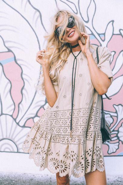 : barefoot blonde blogger dress tumblr nude dress mini dress eyeliner eyelet detail eyelet dress