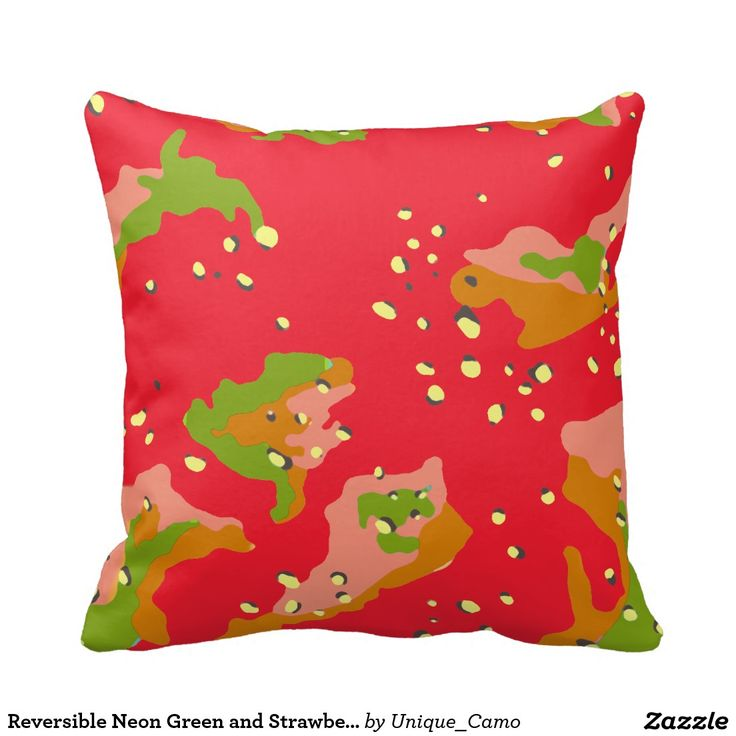 Reversible Neon Green and Strawberry Red Camo Throw Pillow Throw Pillows Pinterest Neon ...