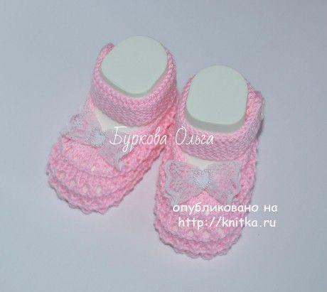 Вязаные пинетки. Работы Бурковой Ольги вязание и схемы вязания