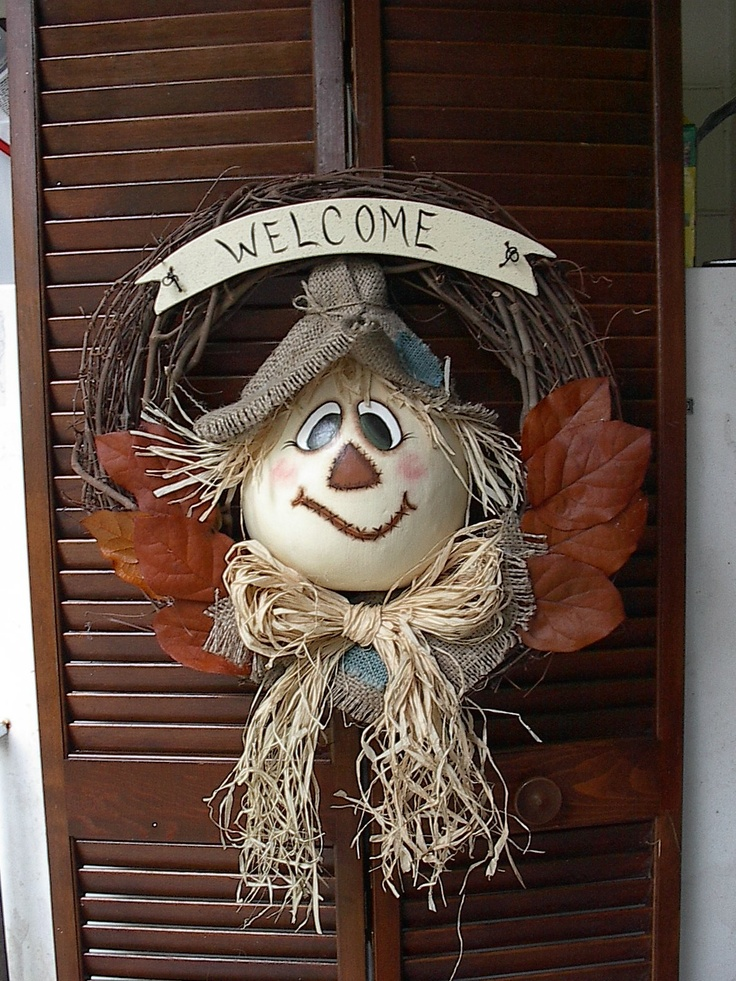 Painted Gourd Scarecrow Grapevine Wreath