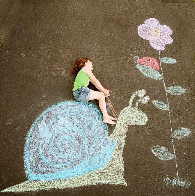 Idéias divertidas de fotos no chão, David Zinn, ilustração e idéias para fotos com as crianças, você encontra aqui no Grávidas e Antenadas.