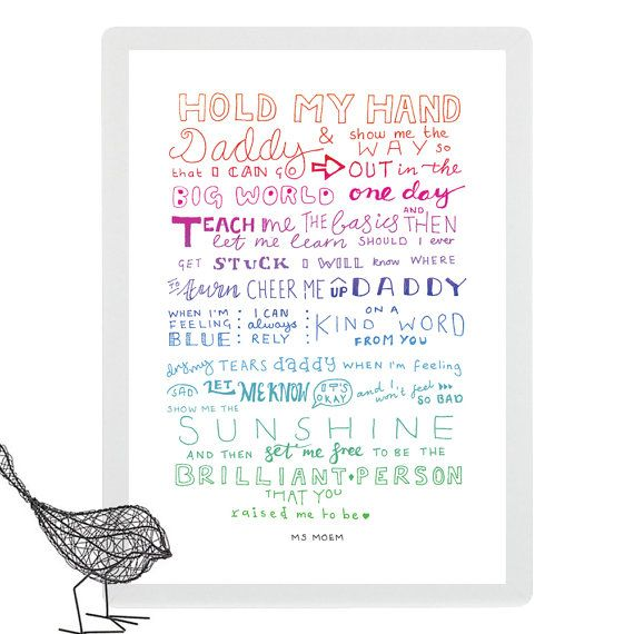 Hold My Hand Daddy  Hand-Lettered Poem Print  Digital by MsMoem