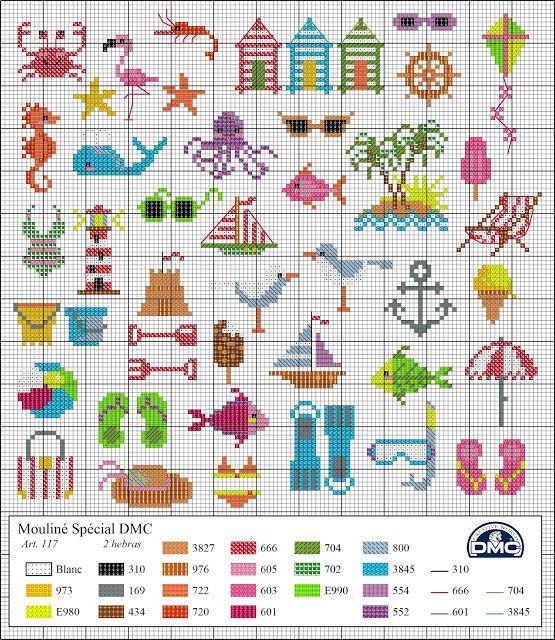 El blog de Dmc: Diagramas veraniegos de punto de cruz -- cross stitch #beach #summer