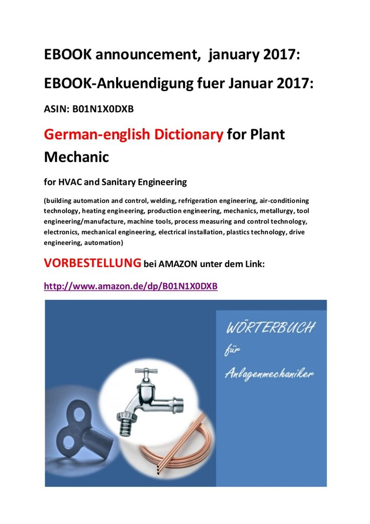 Ebook announcement: dictionary for plant mechanic german-english