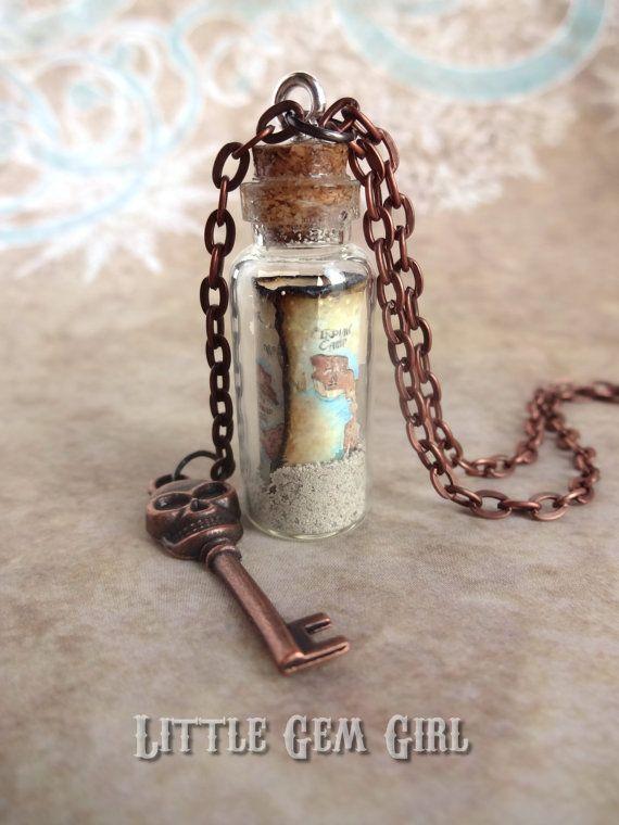 Pirate Treasure Map Glass Bottle Cork Necklace  by LittleGemGirl