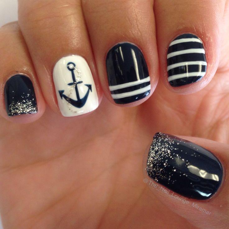 Sailor anchor gel nail art design