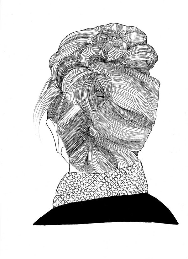 love the lines in this hair illustration.