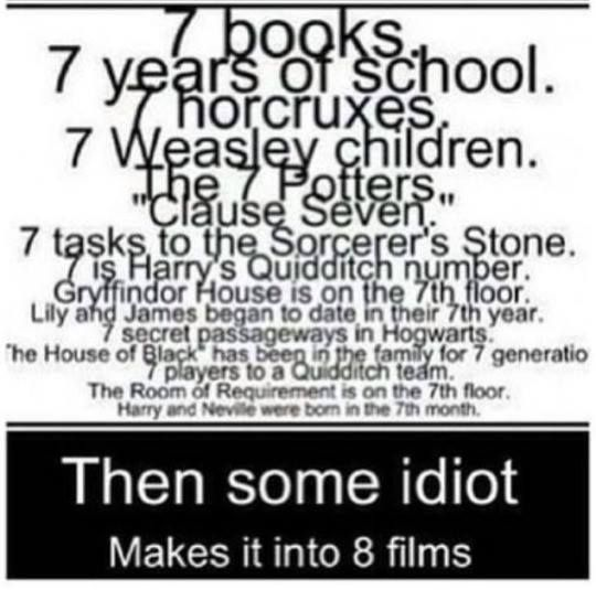 The Horcrux part is wrong though..... They THOUGHT there were 7 Horcruxes, but it turned out there were really 8.... We thought there would be 7 movies, but they made 8.... Coincidence? I THINK NOT, J.K. ROWLING, YOU CLEVER LITTLE GENIUS YOU!