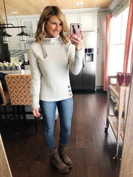 How to Style Wedge Mid Boots // Mock Neck Sweater + Jeggings + Sorel Boots
