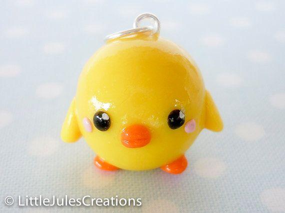 Kawaii yellow chick bird polymer clay by LittleJulesCreations, $4.50