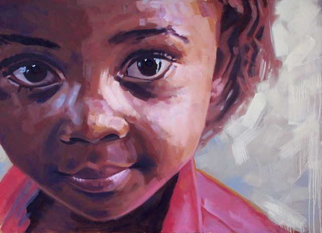 original oil painting by Luke Vehorn South African artist former redux artist AIDS orphan contemporary portrait