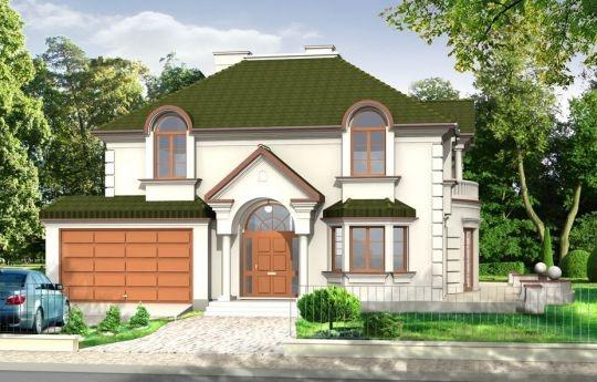 Projekt Ambasador to duży, reprezentacyjny, piętrowy dom dla 4-6cioosobowej rodziny. Architektura domu wyraża poczucie stabilizacji i komfortu - wyższej klasy. W projekcie Ambasador, dzięki zaprojektowanemu wejściu od strony krótszej elewacji istnieje możliwość adaptacji na działkę z ogrodem z boku. Prostokątna bryła domu z dobudowanym garażem i ozdobnym portykiem wejściowym tworzą mimo mnogości detali jasny i klarowny układ wnętrza i konstrukcji.