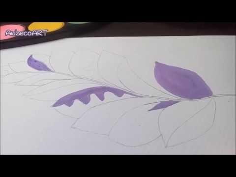 Pluma en acuarela y decoracion en Zentanglr ~ YouTube