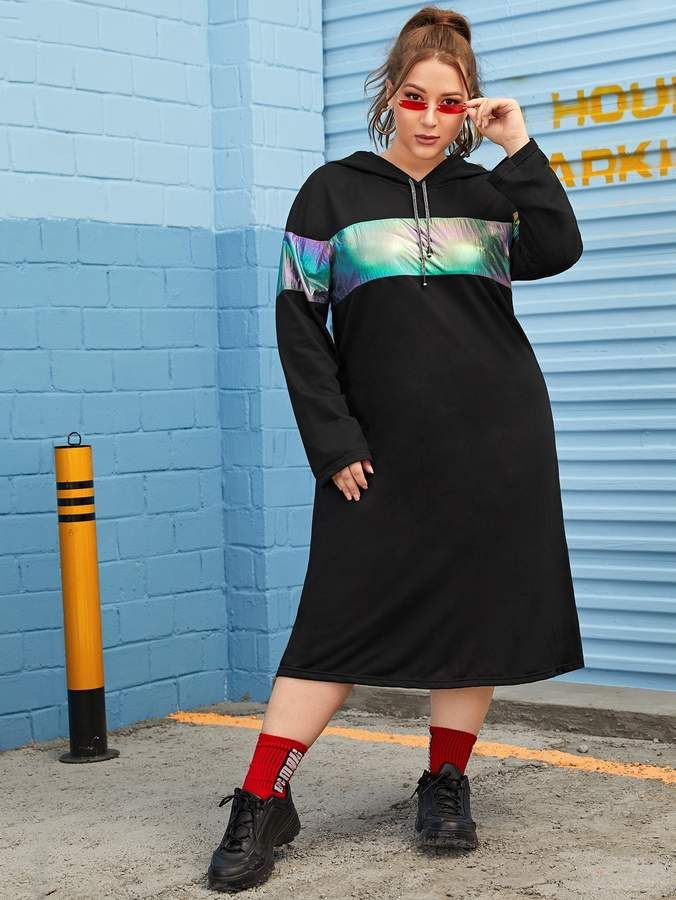 Shein Plus Colorful Contrast Hooded Dress