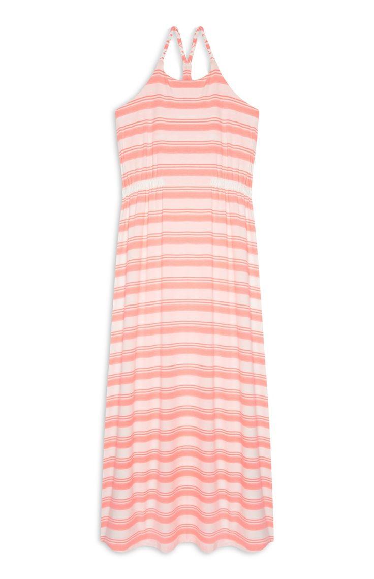 Maxi-jurk met roze strepen, meisjes