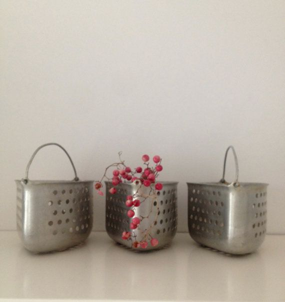 vintage trio of storage/steamer baskets
