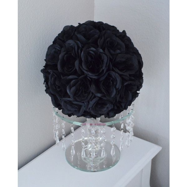 Black Kissing Ball. Black WEDDING CENTERPIECE. Black Pomander. Black... ❤ liked on Polyvore featuring home, home decor, floral decor, tree branch centerpieces, flower bouquet, flower centerpieces, silk rose bouquet and black home decor