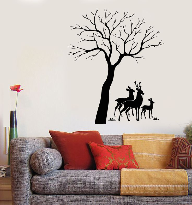 Vinyl Wall Decal Reindeer Family Tree Forest Animals Stickers (1787ig) Part 74