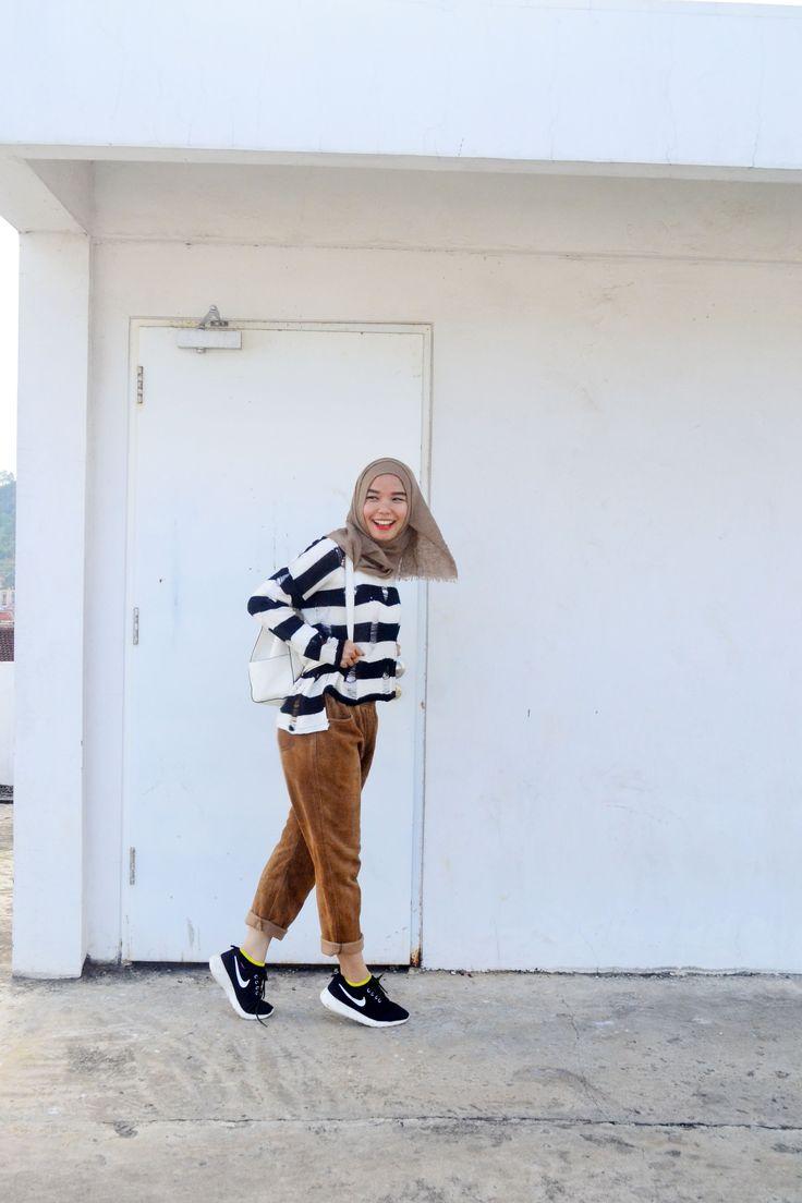 #hijab #casual # chill #sport #monochrome sneakers #corduroy