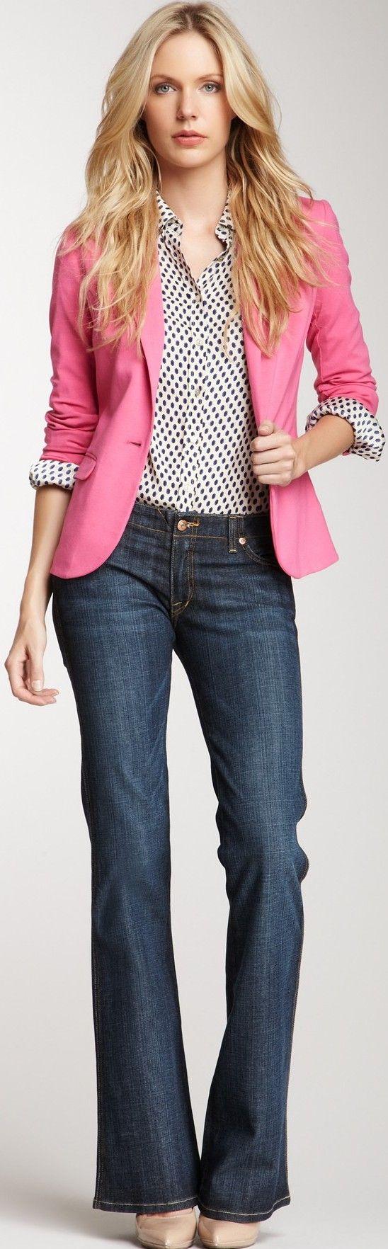 blazer rosa com camisa poá