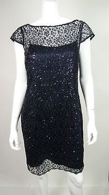 Kay-Unger-Women-039-s-Navy-Blue-Sequin-Patterned-Sheath-Dress-w-Slip-Size-12