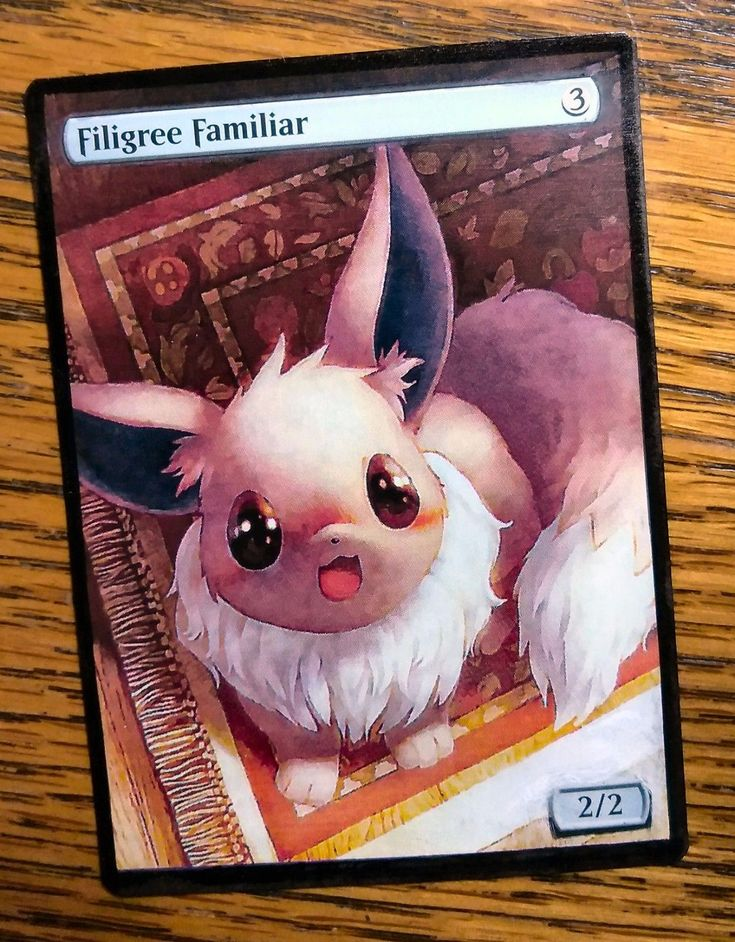 Magic the Gathering MTG altered art Pokemon Eevee Filigree Familiar